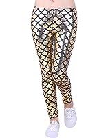 HDE Girl's Shiny Mermaid Leggings Metallic Fish Scale Tights Mermaid Costume (4T-12)