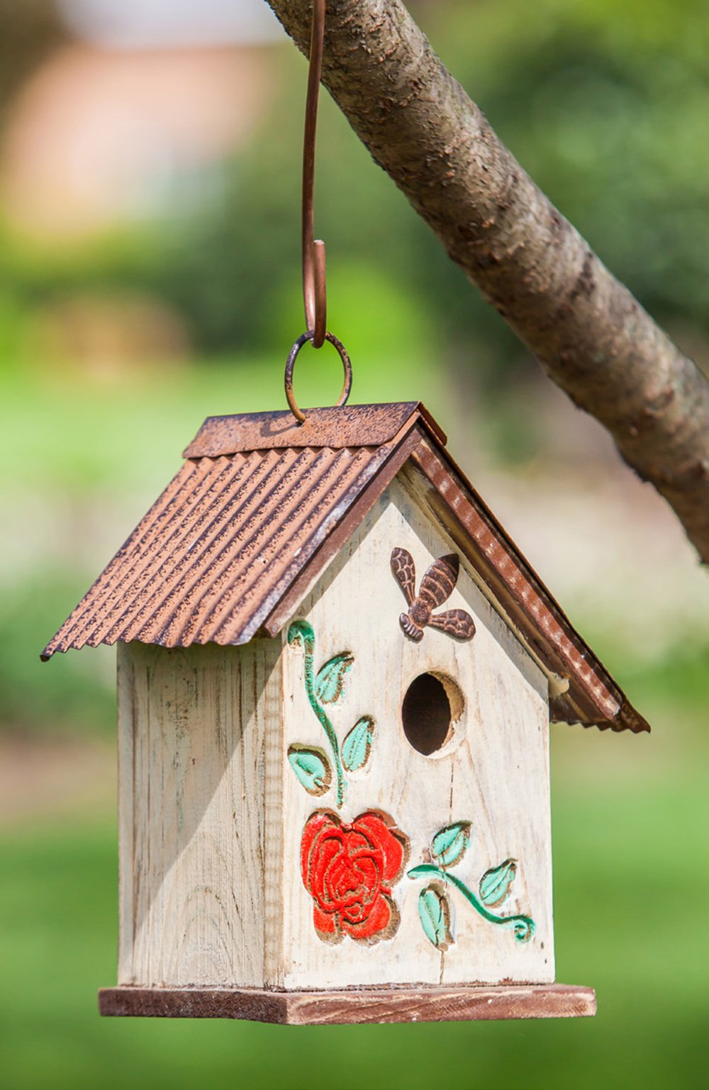 A Ting Wooden Carved Floral Birdhouse with Hanging(White)