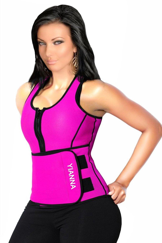 YIANNA Sweat Neoprene Sauna Suit - Waist Training Vest - Sauna Tank Top Vest with Adjustable Waist Trimmer/Shaper Trainer Belt for Weight Loss Plus Size Up to 5XL, YA8012-Rose-XS