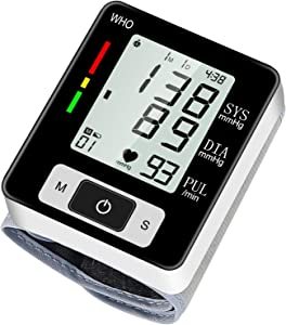 Blood Pressure Monitor, Automatic Digital Blood Pressure Wrist Cuff for Home Use, Large LCD Display Accurate Irregular Heartbeat Detection with 2x60 Memory Function