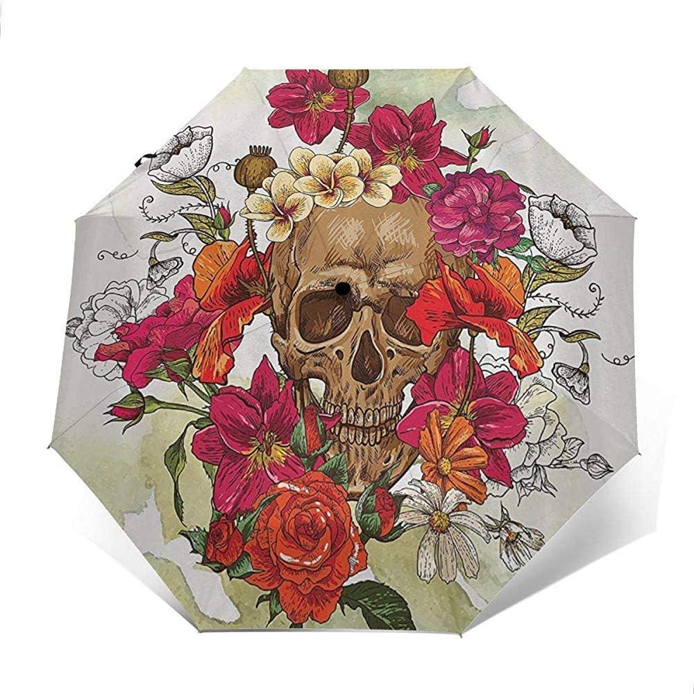 Paraguas tríptico automático Cráneo y flores Brotes Hojas Margaritas Camelias Festival Impresión A prueba de viento Compacto Apertura automática Paraguas de 3 pliegues
