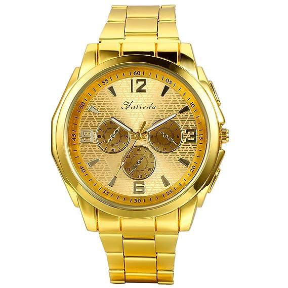 31e629b99147 Regalo de papá Día del Padre Jewelrywe Reloj Dorado de Esfera Oro ...