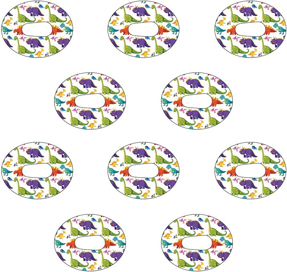 Dexcom G6 Precut Dinosaur Design Adhesive Patches 10 Pack