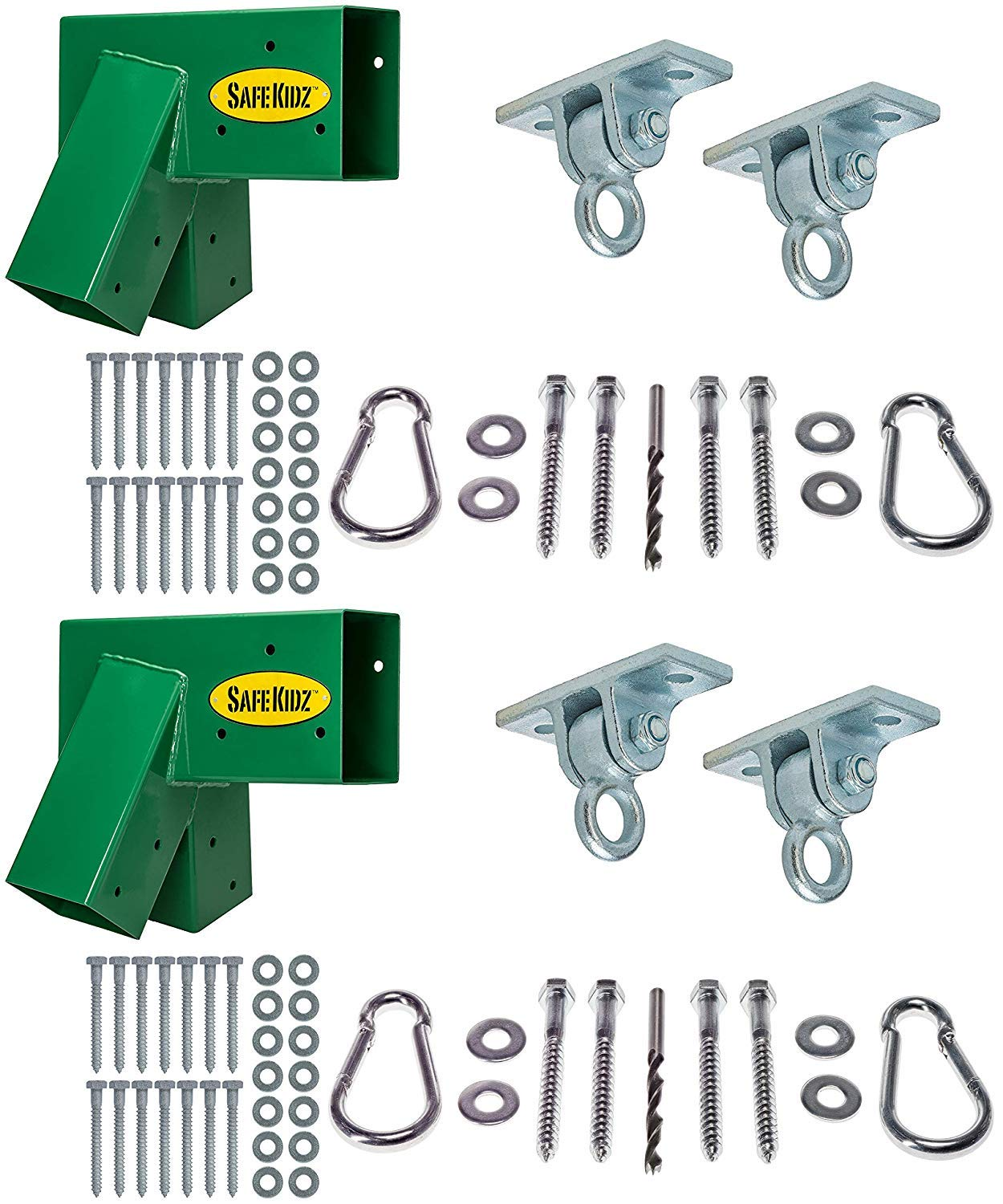 Safe-Kidz™ Deluxe Wooden Swing Set Brackets :: Set of 2 Steel Swing Braces, Set of 4 Playset Hangers, Drill Bit & All of The Hardware & Instructions for Easy Installations