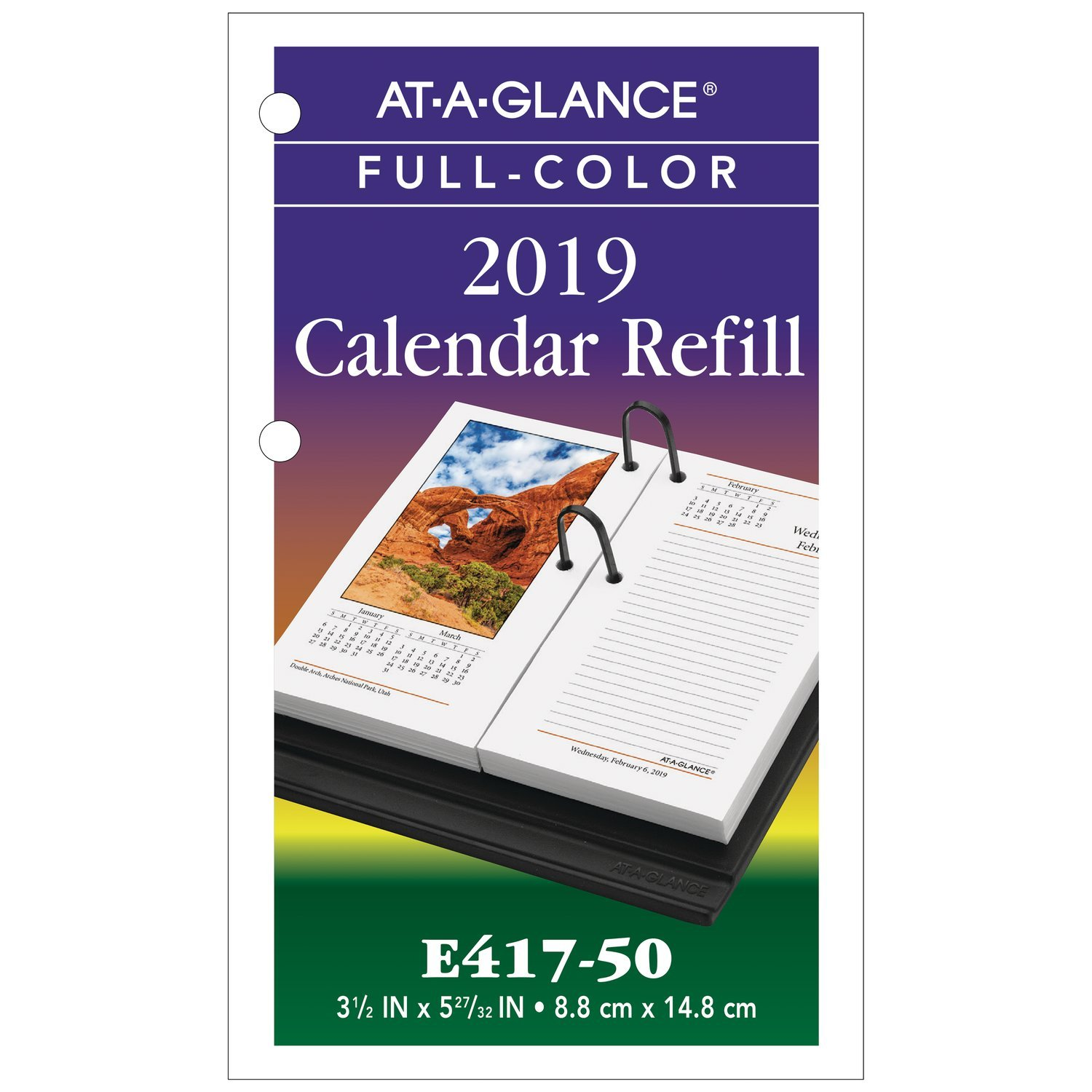 AT-A-GLANCE 2019 Desk Calendar Refill, 3-1/2'' x 6'', Photographic (E41750)