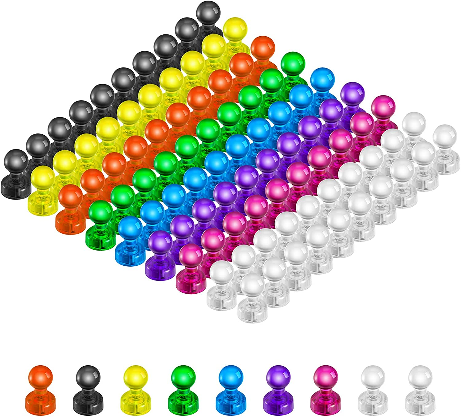 90 PCS Colorful Push Pin Magnets, Office Magnets,8 Assorted Color Strong Magnetic Push Pins, Perfect to use as Kitchen Home and School Classroom Magnets, Map Magnets,Whiteboard Magnets