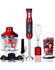 Hand Blender 3 in 1 LINKChef Hand Blender 500W, 500ml Food Processor, 800ml Beaker, Whisk, Robust Titanium Coating Stainless Steel Blade, Red/Black (HB-1250T) – 3 Year Warranty