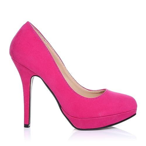 EVE Fuchsia Faux Suede Stiletto High Heel Platform Court Shoes