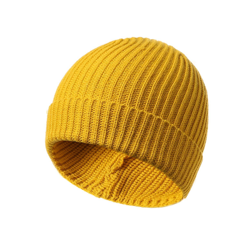 c35977da645 Amazon.com  1pc Solid Color Yellow Beanie Cap Knitting Men Women Autumn  Winter Soft Warm Skiing Hat