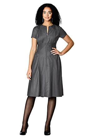 Eshakti Women S Front Zip Pieced Pinstripe Suiting Dress At Amazon
