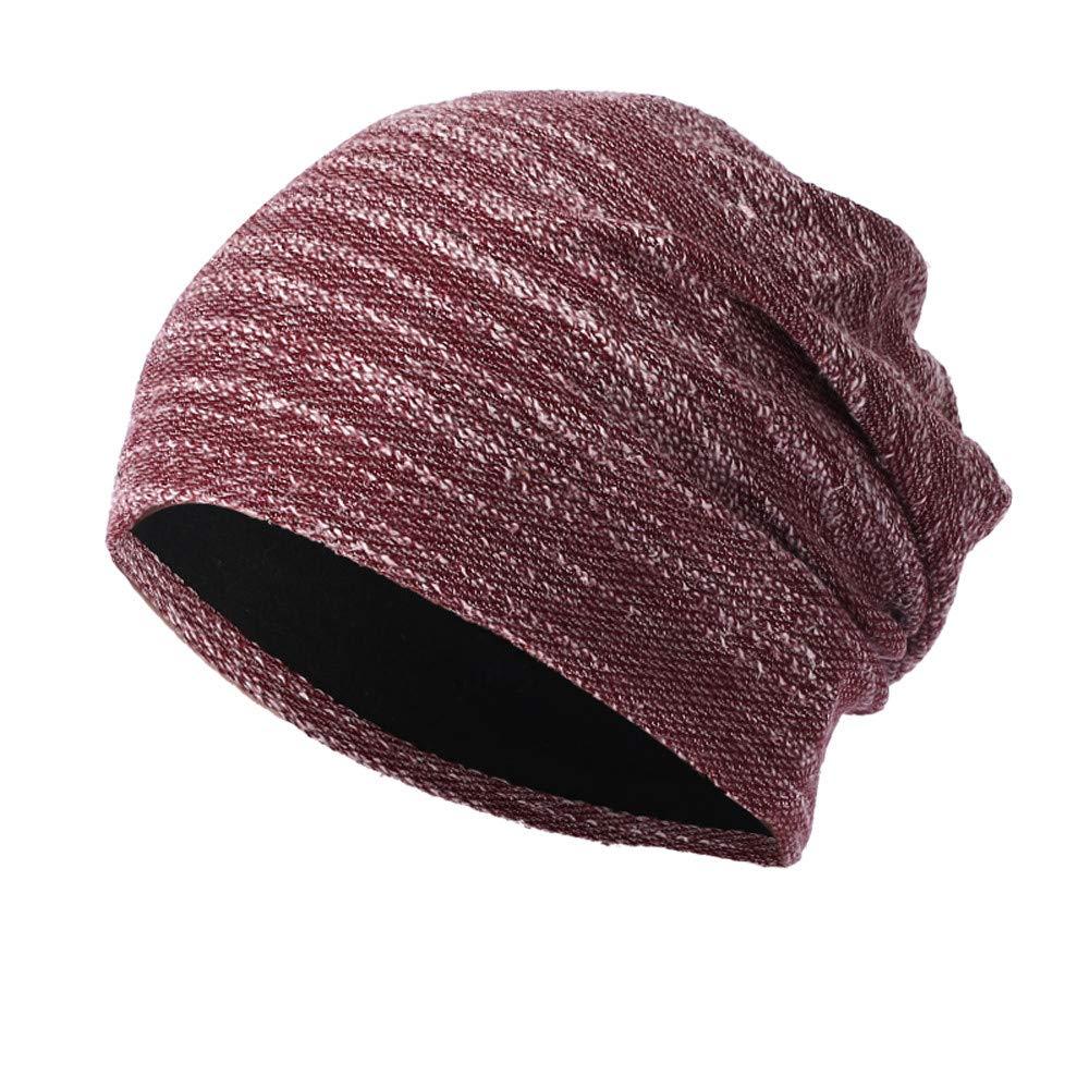 WUAI Clearance Deals,Mens Womens Knit Baggy Hats Warm Crochet Winter Wool Ski Beanie Casual Skull Caps (Wine,Free Size)
