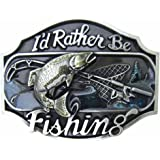 MASOP Western Style Funny Casual Belt Buckle I'd Rather Be Fishing