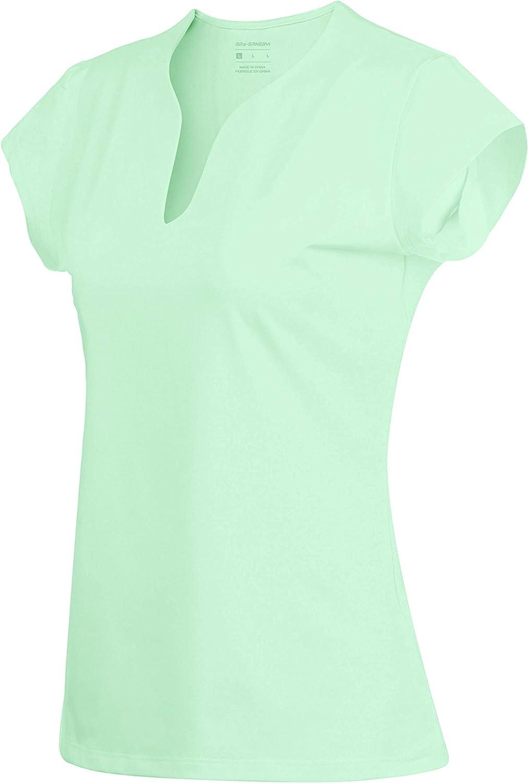 Camisetas de Tenis de Manga Corta con Cuello en V para Mujer, Secado rápido, para Tenis, Golf, Correr, Camisetas, de Secado rápido