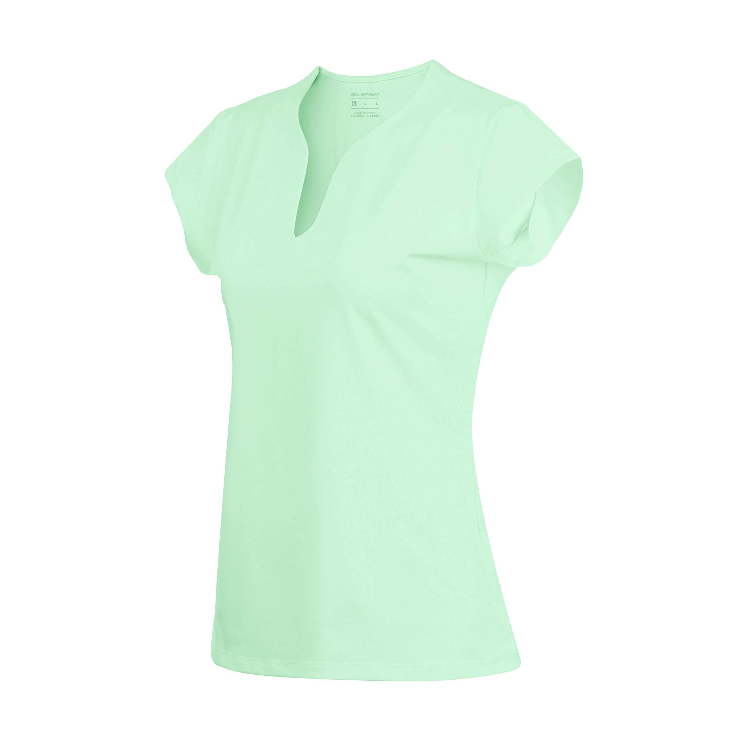 32e-SANERYI Women's V-Neck Pullover Short Sleeve Sports Shirts Quick-Drying Tees (S, Mint Green)