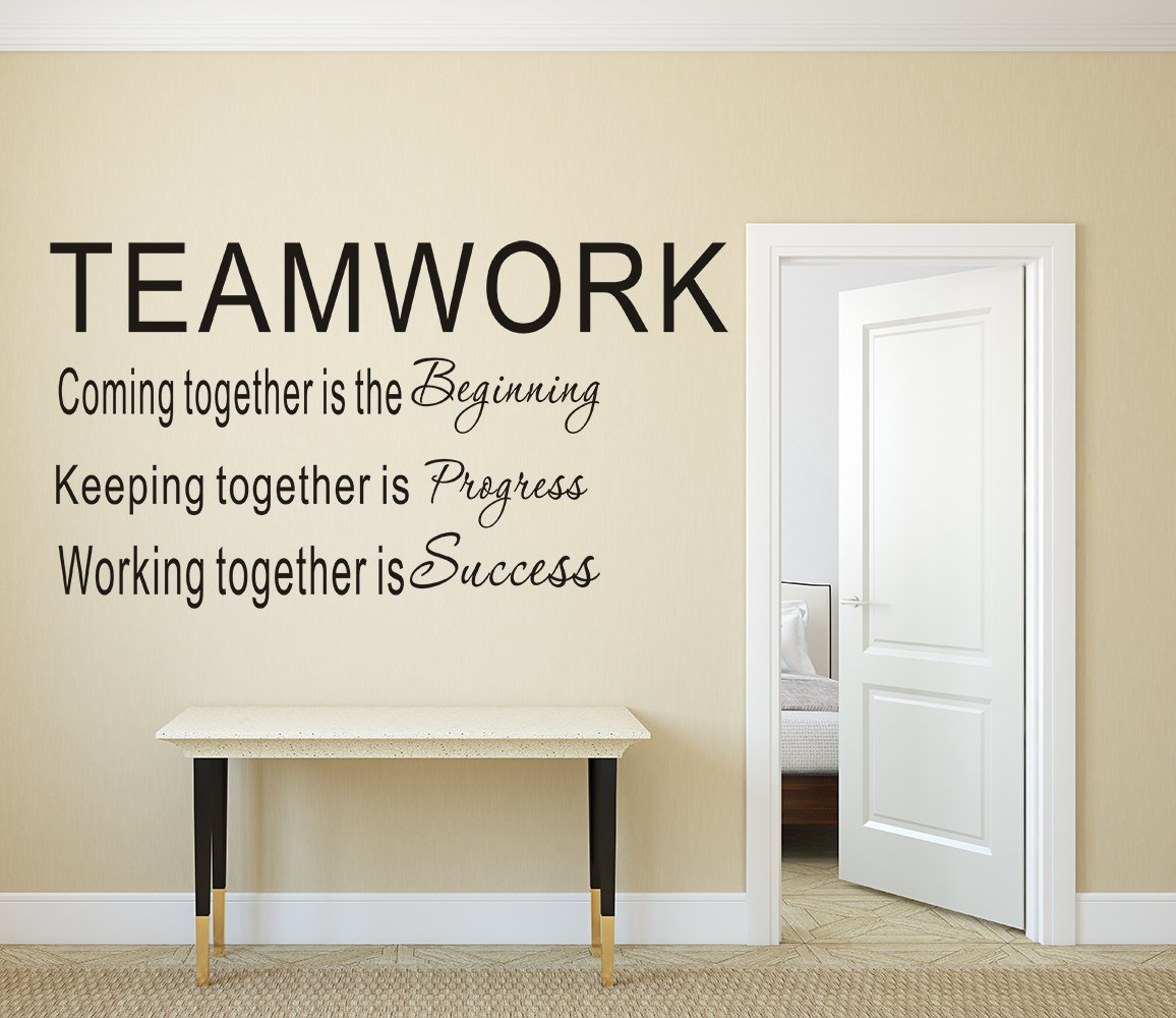 LUCKKYY Large Teamwork Definition Office Vinyl Wall Decals Quotes Sayings Words Art Decor Lettering Vinyl Wall Art(T-Black))