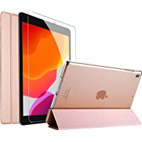 ProCase iPad 7th Generation Case iPad 10.2 Case 2019 with Tempered Glass Screen Protector, Slim Stand Hard Shell Protective Smart Cover for 7th Gen iPad 10.2 Inch 2019 (A2197 A2198 A2200) –Rosegold