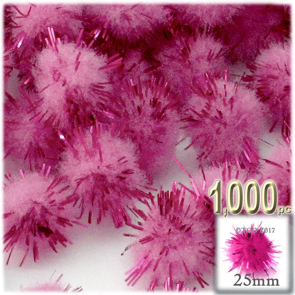 The Crafts Outlet Chenille Sparkly Pom Poms, Pink porcupine, 1.0-inch (25-mm), 1000-pc, Pink by The Crafts Outlet