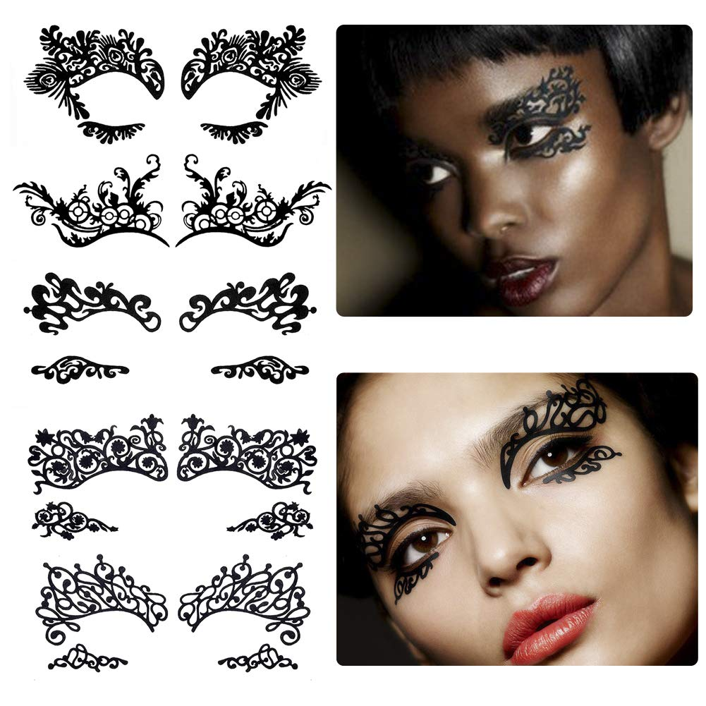Bilbal 5 Pairs Temporary Eye Tattoo Stickers, Drama Fabric Black Lace Makeup Eye Liner Stickers for Photo Studio Masquerade Christmas Party Ball T-show, Reusable Eye Shadow Stickers