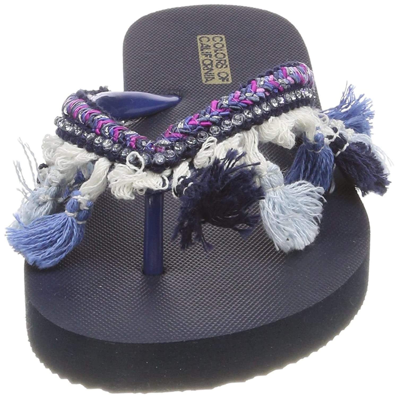 Colors of California Damen Eva Flip Flop with Tassel Accessorizes Zehentrenner, Schwarz (Black), 41 EU