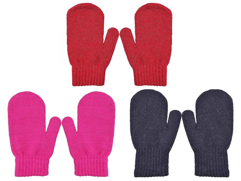 PZLE Kids Knit Mittens Winter Cashmere Warm Stretch 3//4 Pairs