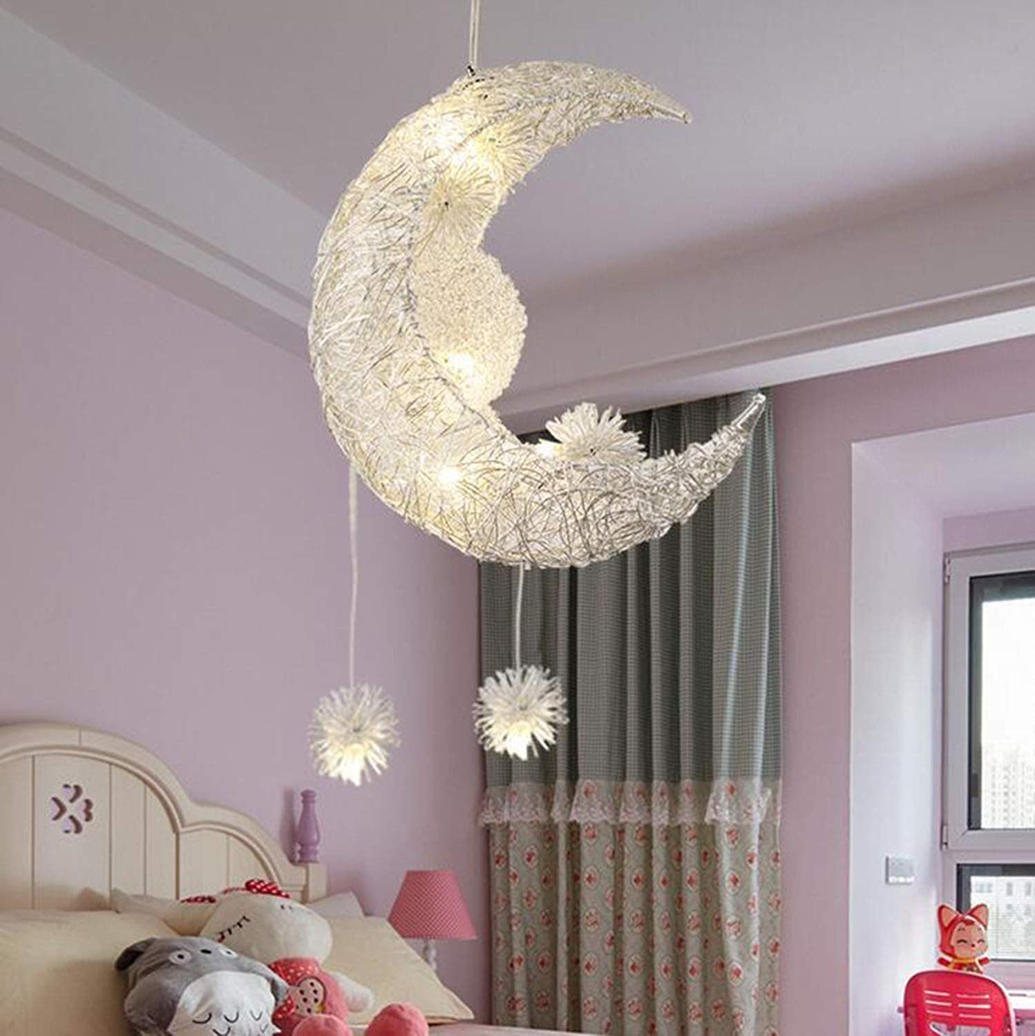 Youtree Indoor Lighting Star Moon Children Room Lighting Creative Personality Chandelier Restaurant Bedroom Lighting Light (Color : 110V White)