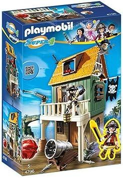 PLAYMOBIL - Fuerte de Pirata camuflado con Ruby, playset (4796): Amazon.es: Juguetes y juegos
