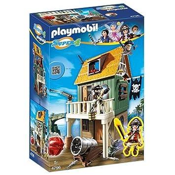 Playmobil 4796 - Super 4 Pirates Toy - Gunpowder Island Hidden Pirate Fort  94 Piece Playset
