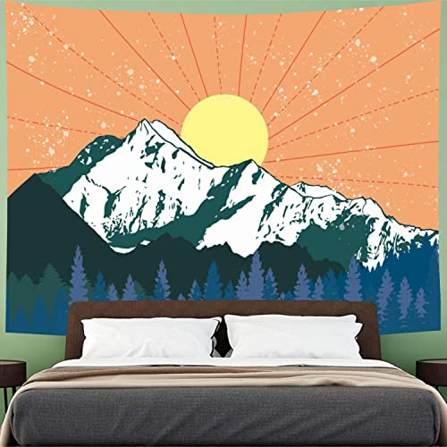 Mountain and Sun Tapestry Forest Trees Tapestry Watercolor Mountains Tapestry Psychedelic Nature Landscape Tapestry Wall Hanging for Dorm Room