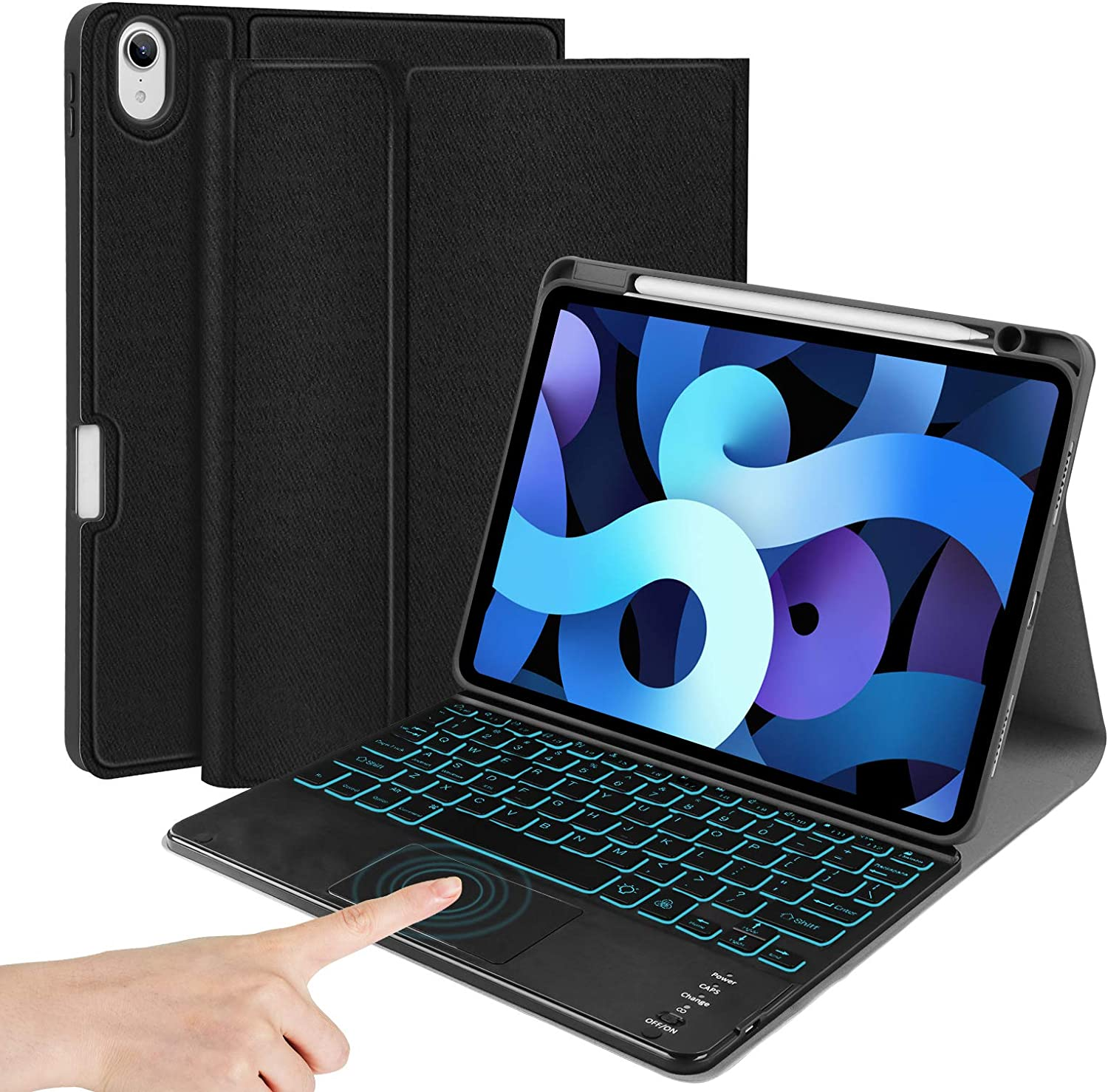 iPad Air 4th Touchpad-Backlit-Keyboard Case - JUQITECH Smart Case with Detachable Wireless BT Keyboard for iPad Air 4 Generation 10.9 2020 Magnetic Flip Stand Cover with Pencil Charging Holder, Black
