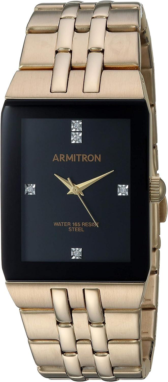 Armitron Men s 20 5316BKGP Swarovski Accented Gold-Tone Watch