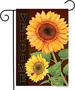 Generies Sunflower Ladybug Welcome Vertical Garden Flag- Double Sided,Vivid Color Small Summer Fall Flower Floral Garden Yard Flags Banner Outdoor Indoor Lawn Home Decor 12 x 18 Inch