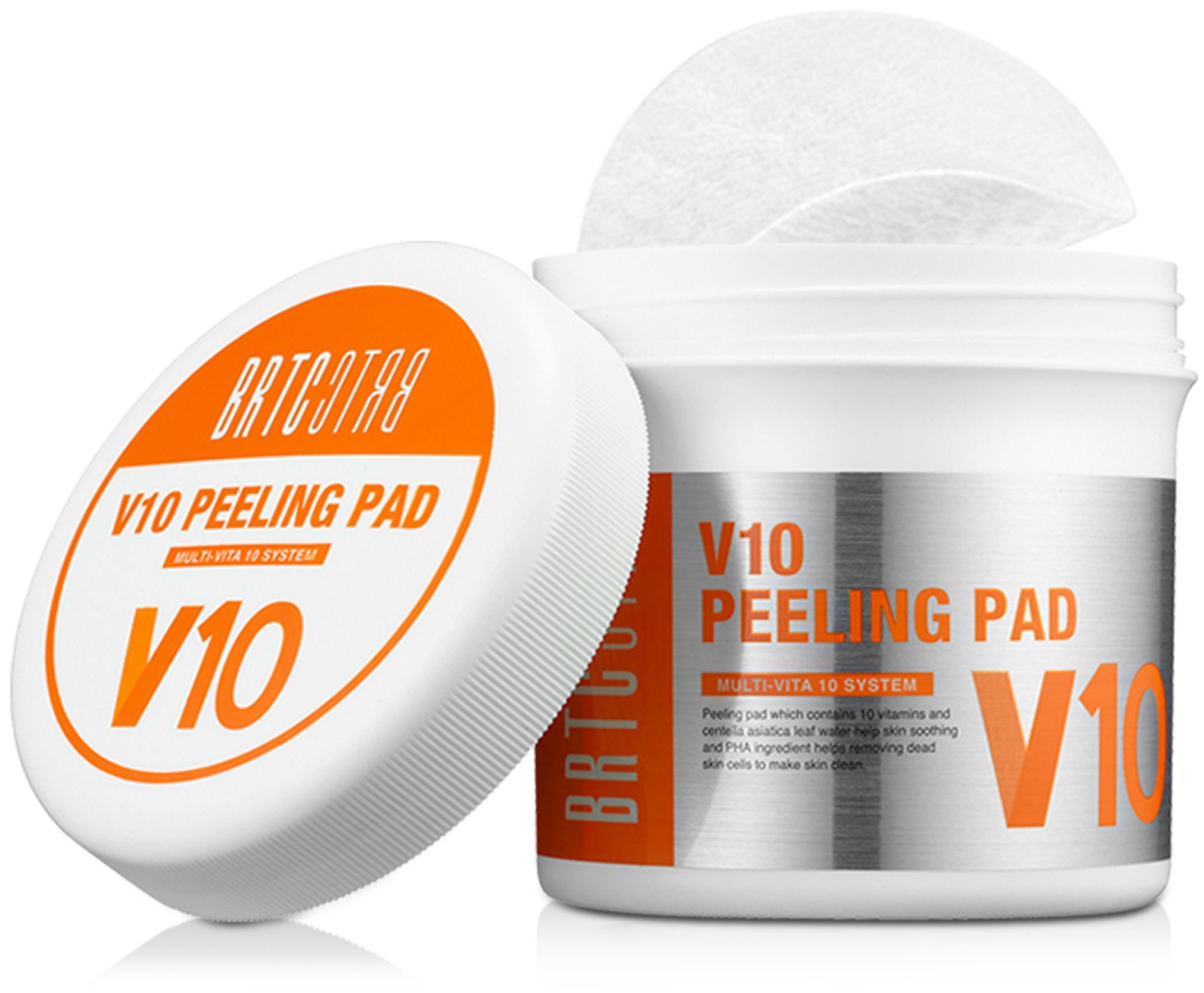 BRTC V10 Peel Pads - 80 Count - 10 Vitamins for Skin Soothing, Exfoliation, Moisturizing, and Removing Dead Skin Cells