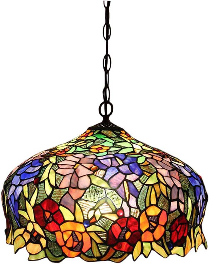 FUMAT Tiffany Pendant Light Rose Flower Stained Glass Hanglamp 16 E26 LED Chandelier Hanging Lights Fixture 110V Ceiling Pendant Lamp