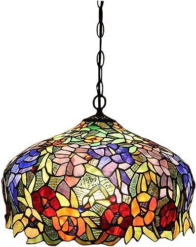FUMAT Tiffany Pendant Light Rose Flower Stained Glass Hanglamp 16″ E26 LED Chandelier Hanging Lights Fixture 110V Ceiling Pendant Lamp