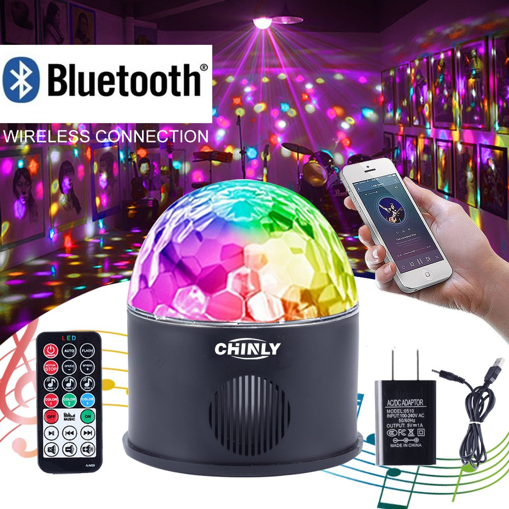 CHINLY LED Disco Ball Light MP3 Music Bluetooth Speaker USB Portable 9W 9color Modes Dance Hall Strobe Light Mini LED Stage Light Party Light for Wedding Party Bar Club DJ KTV (with Remote & US Plug) by CHINLY (Image #1)