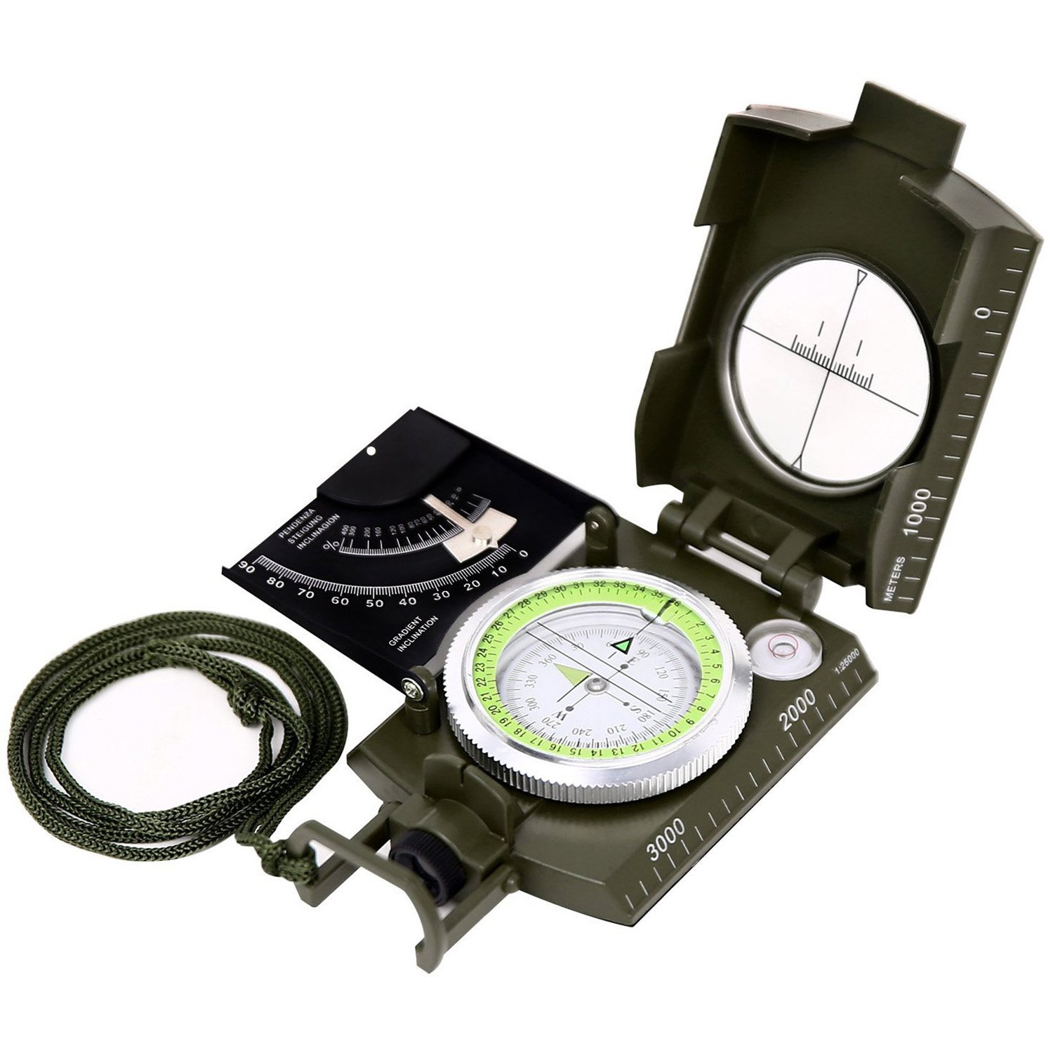 Sportneer Multifunctional Military Lensatic Sighting Compass with Inclinometer and Carrying Bag, Waterproof and Shakeproof, Army Green