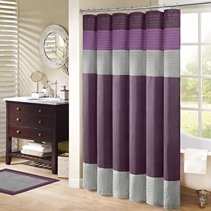 Madison Park Amherst Fabric Purple Shower Curtain Pieced Transitional Simple Curtains For Bathroom