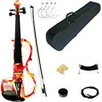 Kinglos 4/4 Yellow Pink Rose Colored Solid Wood Advanced Electric/Silent Violin Kit with Ebony Fittings Full Size…