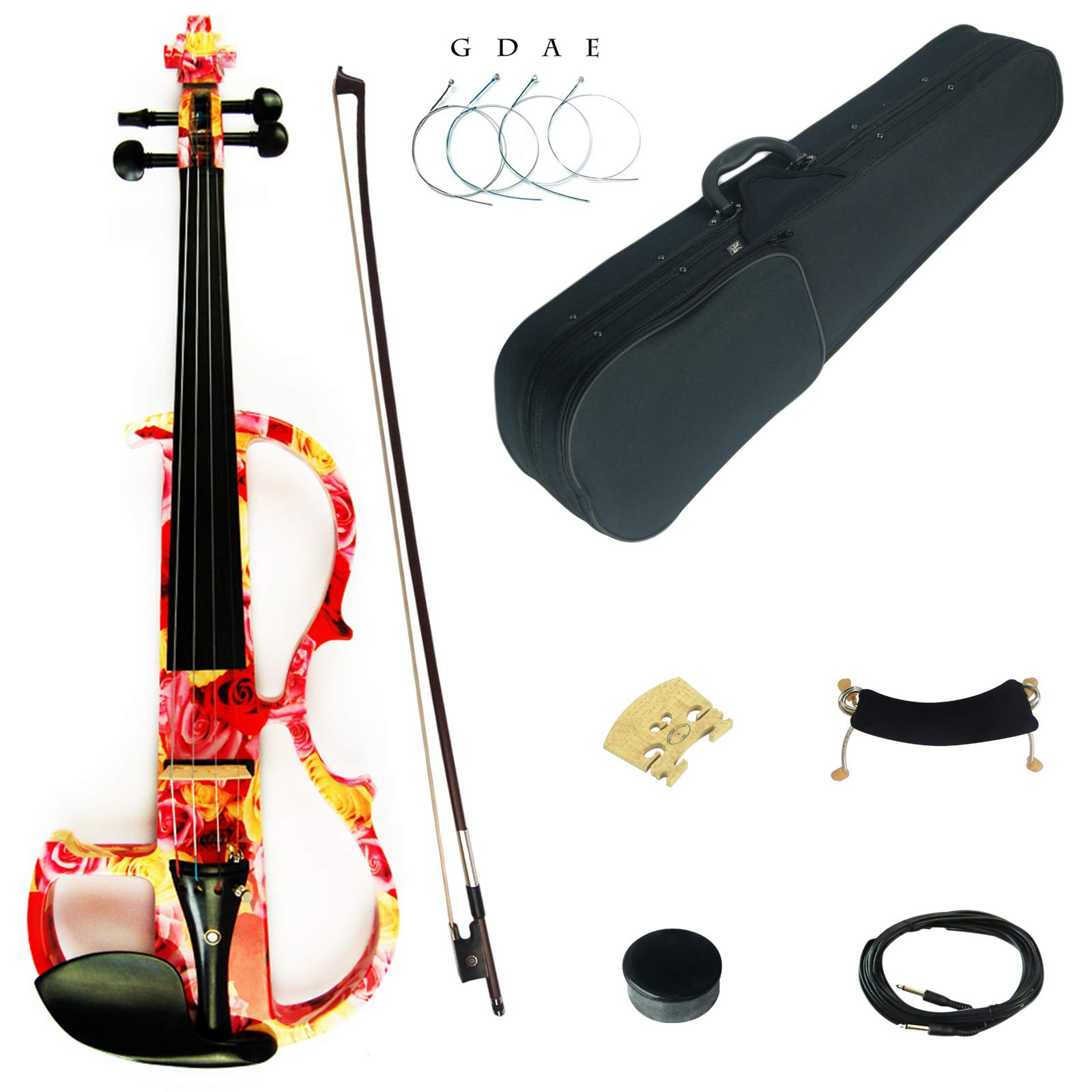 Kinglos 4/4 Yellow Pink Rose Colored Solid Wood Advanced Electric/Silent Violin Kit with Ebony Fittings Full Size (DSG1003) by Kinglos