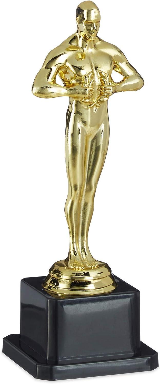 Relaxdays niños Trofeo, Soporte Cuadrado, Corona de Ganador, Hollywood, Regalo, 18 cm, Dorado