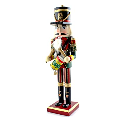 Ids Home 12 Drums Nutcracker Wooden Soldier Toys Ornaments Holiday Decoration Gift