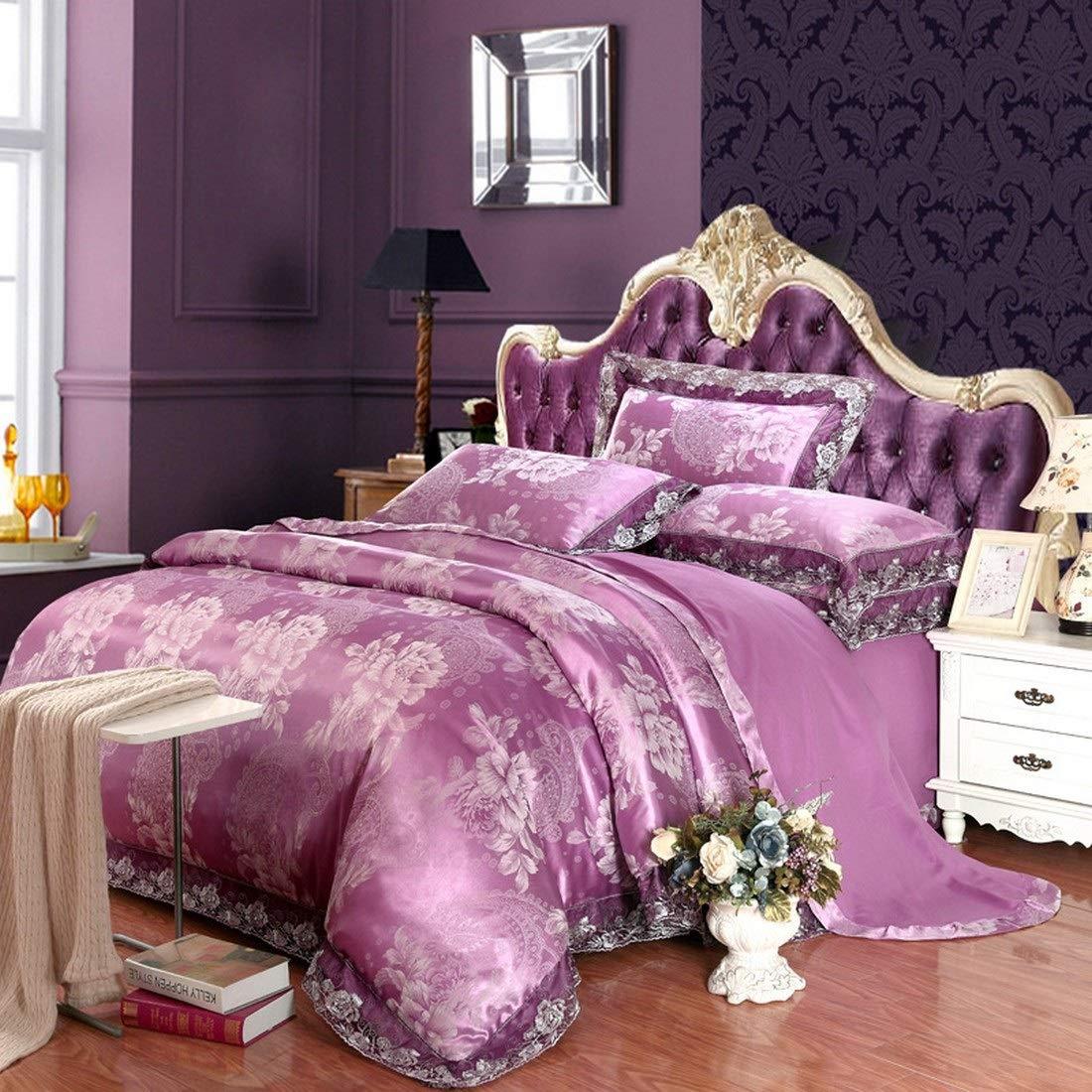 Koloeplf シンプルな新しいモーダルサテンジャガードコットンレース寝具セット (Color : Purple, Size : QUEEN) B07P1XQ8LH Purple Queen