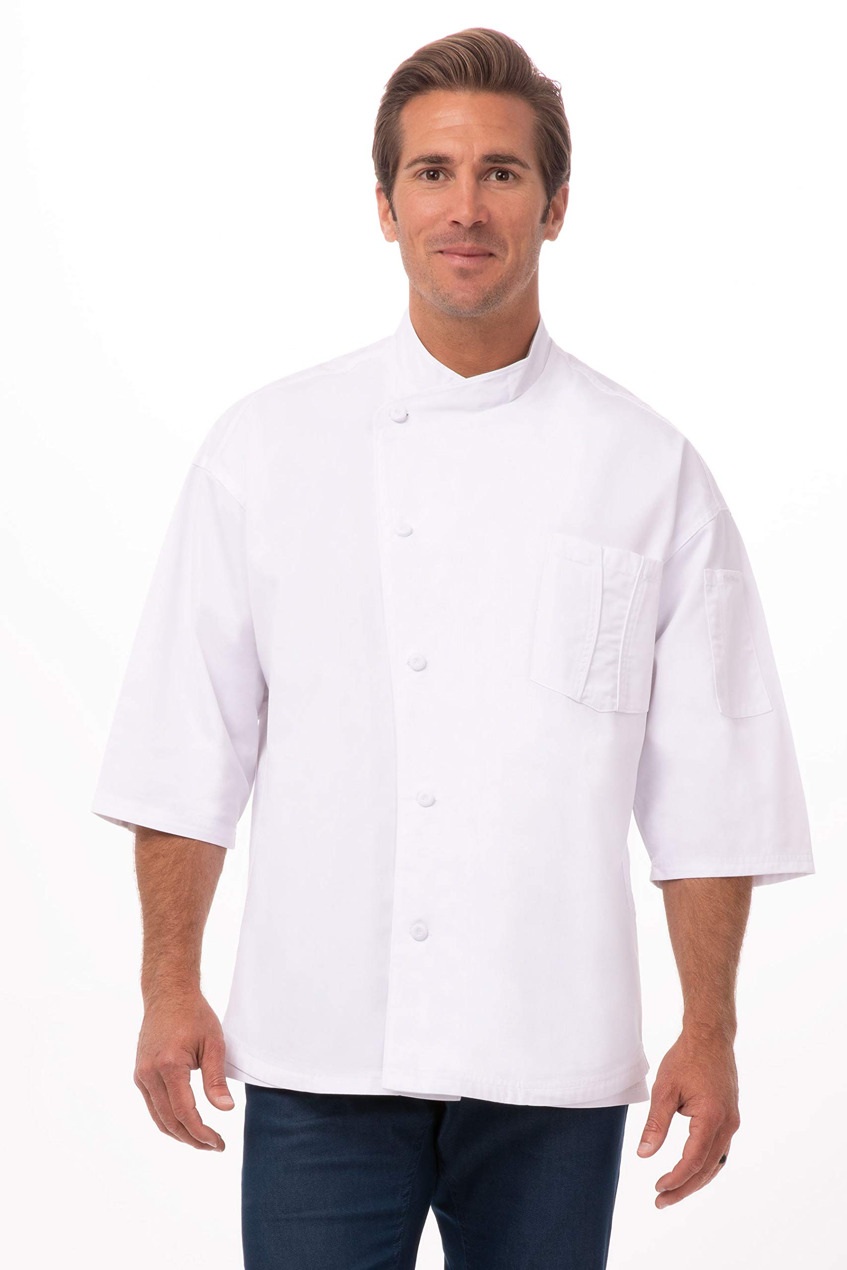 Chef Works Men's Positano Signature Series Chef Coat, W/White Trim, Large by Chef Works