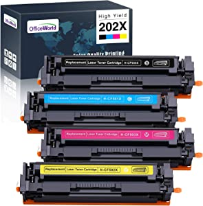 OfficeWorld Compatible Toner Cartridge Replacement for HP 202X 202, High Yield Work with HP Color Laserjet Pro MFP M281fdw M281cdw M281fdn M254dw M254nw M254dn, 4 Pack (Black, Cyan, Magenta, Yellow)