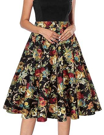 Mujeres Vintage Faldas Alta Cintura Floral Plisado Skater Aline ...