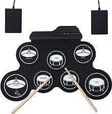 CAHAYA E-Drum - Juego de batería electrónica con 7 almohadillas dinámicas para los pies, pedales para principiantes y niños, color negro