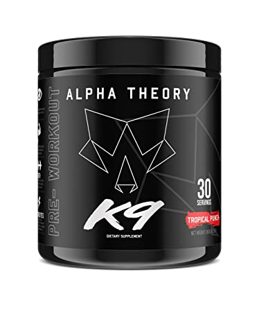 Alpha Theory K9 Pre-Workout Supplement Tropical Punch Flavor High Energy 30 Servings 350mg of Caffeine