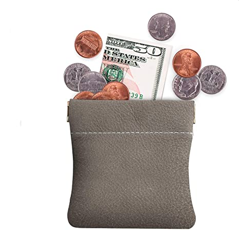 Genuine Leather Squeeze Coin Purse,Pouch,Change Holder For Men//Woman Size...
