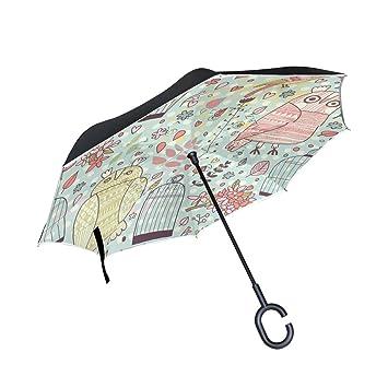 Azul Viper Kawaii búho auxiliar paraguas Reverse plegable impermeable protección UV paraguas recto doble capa para