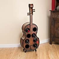 Christow Wooden Cello Shaped Wine Bottle Rack Stand Holder 8 Bottles H101cm
